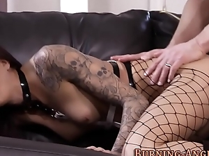 Goth slut gets facial