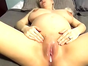 Blonde pregnant MILF gets a Huge Creampie