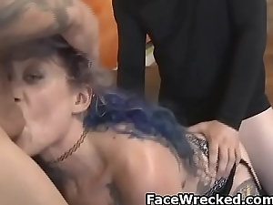 Tattooed Up Emo Slut Stella Casey Gagging During Face Fucking