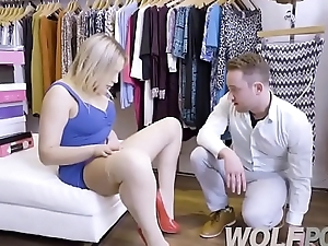 Horny saleswoman Blair Williams show me her pussy when I consult prices