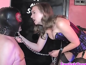 Femdom demands submissive to swell up load of shit
