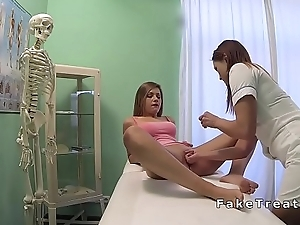 Nurse fingering and licking lesbian took place