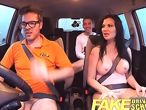 Fake Driving School exam fractionation ends in threesome double creampie