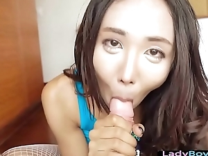 Ladyboy with big tits gives a hot eye contact oral