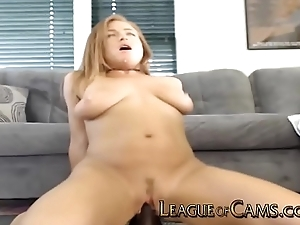 Housewife Rides Burly Dildo in Living Room