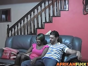 African chick talked into riding white cock not susceptible couch
