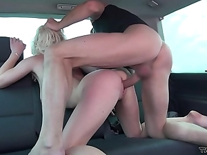 Stolen railway carriage is chance to help young blonde and fuck her pussy in driving van