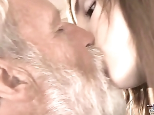 Old Young - Fat Cock Grandpa Fucked off out of one's mind Teen she licks thick old mendicant penis