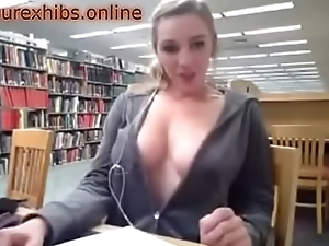 Big-busted girl flashing in the library 4-amateurexhibs.online