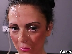 Nasty peach gets sperm albatross on her face swallowing all the cum