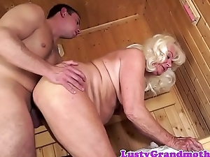 Cocksucking granny doggystyled at a sauna