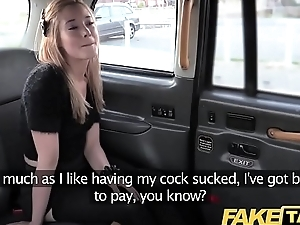 Fake Taxi Petite tow-headed in pull up nylons