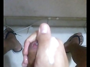 Wanking and cum watching porn